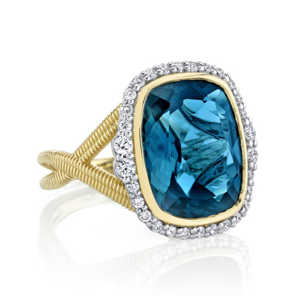 Closeup photo of London Blue Topaz Ring with White Diamond Detail