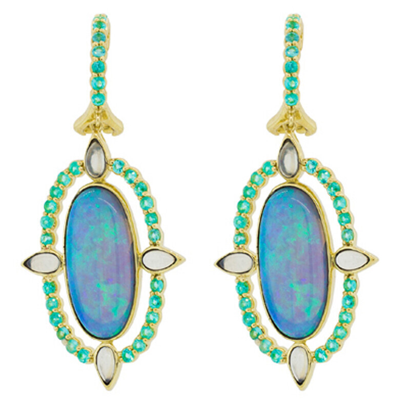 Oval Crystal Opal With Aqua Chalcedony and Paraiba Detail