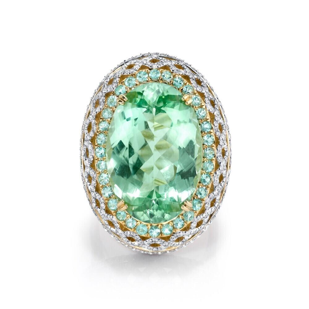Mint Green Tourmaline RIng with Paraiba and White Diamond Detail