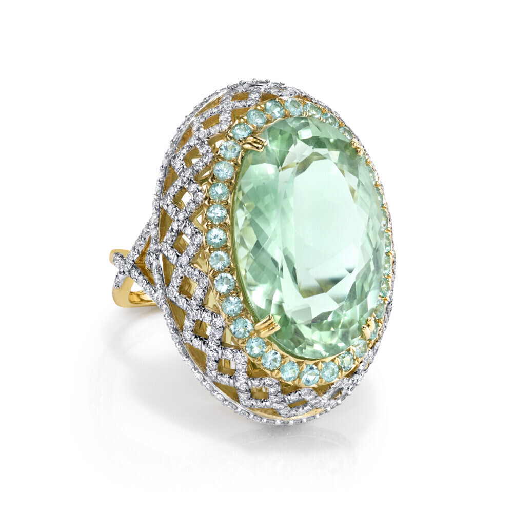 Image 2 for Mint Green Tourmaline RIng with Paraiba and White Diamond Detail