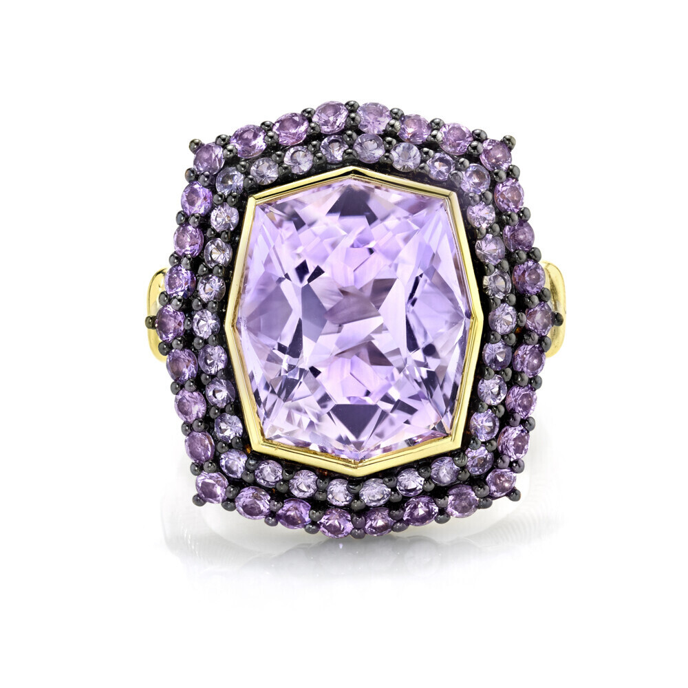 Amethyst Ring with Purple Sapphire And White Diamond Detail