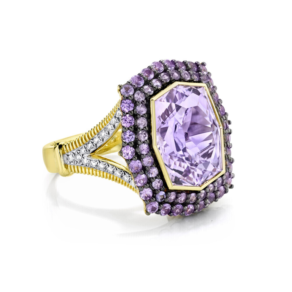 Image 2 for Amethyst Ring with Purple Sapphire And White Diamond Detail