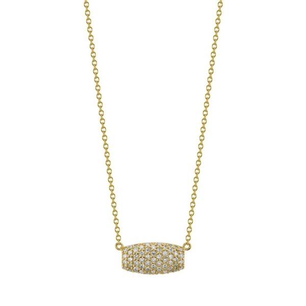 Closeup photo of Pave White Diamond Samantha On Simple Chain