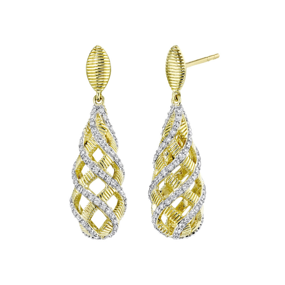 Basket Earring with Strie and White Diamond Detail