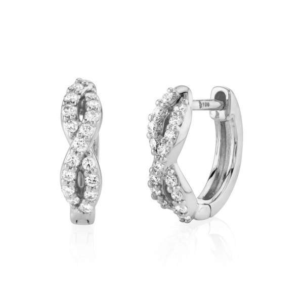 Closeup photo of Braided Huggie Hoop Earring with White Diamond Detail