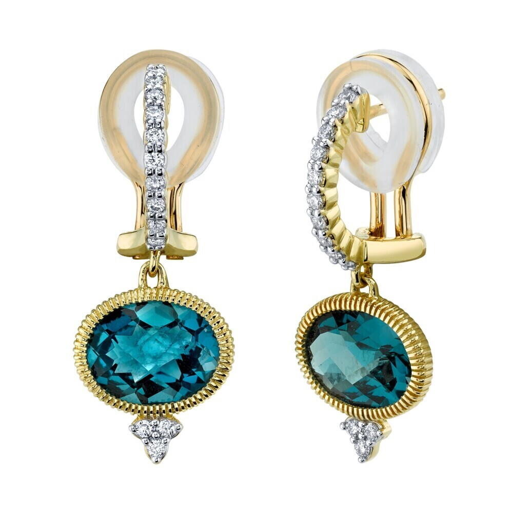 Sideways Oval London Blue Earring With White Diamond Detail