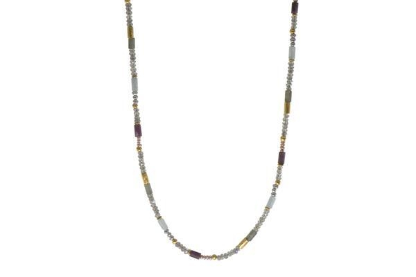 24k Gold Vermeil Labradorite, Ruby & Natural Pearl Beaded Necklace