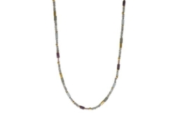 Closeup photo of 24k Gold Vermeil Labradorite, Ruby & Natural Pearl Beaded Necklace