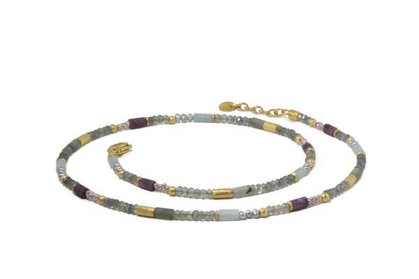 Image 3 for 24k Gold Vermeil Labradorite, Ruby & Natural Pearl Beaded Necklace