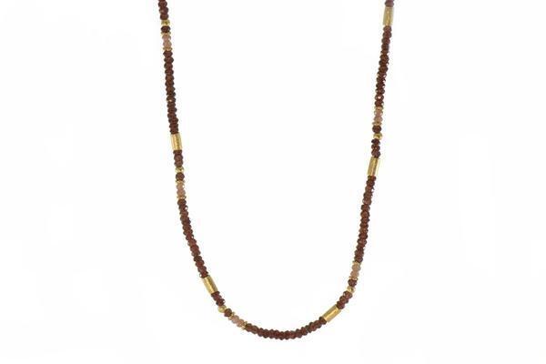 24k Gold Vermeil Garnet & Moonstone Beaded Necklace