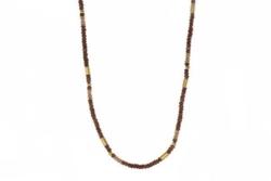 Closeup photo of 24k Gold Vermeil Garnet & Moonstone Beaded Necklace