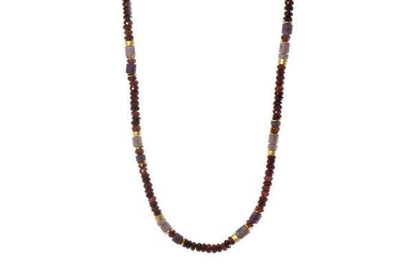 24k Gold Vermeil Garnet, Ruby & Rhodonite Beaded Necklace