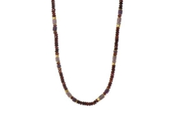Closeup photo of 24k Gold Vermeil Garnet, Ruby & Rhodonite Beaded Necklace