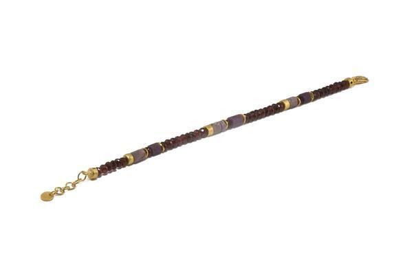 Image 2 for 24k Gold Vermeil Labradorite, Garnet & Ruby Beaded Bracelet