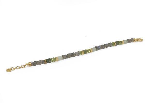 Closeup photo of 24k Gold Vermeil Labradorite, Peridot, Prehnite Beaded Bracelet