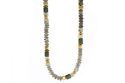Closeup photo of 24k Gold Vermeil Labradorite & Prehnite Beaded Necklace