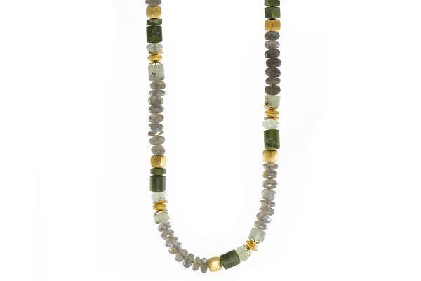 Closeup photo of 24k Gold Vermeil Labradorite & Prehnite Beaded Necklace
