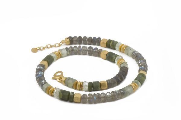 Image 2 for 24k Gold Vermeil Labradorite & Prehnite Beaded Necklace
