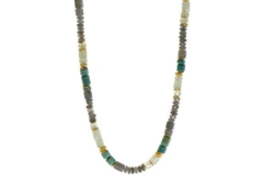 Closeup photo of 24k Gold Vermeil Labradorite, Chrysocolla & Prehnite Beaded Necklace