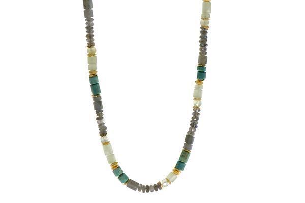Closeup photo of 24k Gold Vermeil Labradorite, Chrysocolla & Prehnite Beaded Necklace