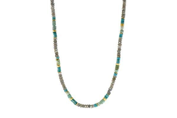 Closeup photo of 24k Gold Vermeil Turquoise, Chrysocolla & Labradorite Beaded Necklace