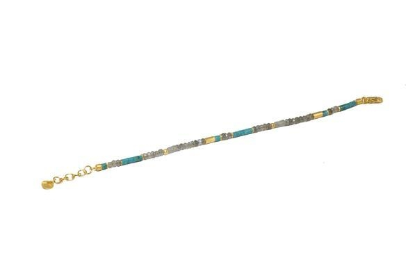 Image 2 for 24k Gold Vermeil Turquoise & Labradorite Beaded Bracelet