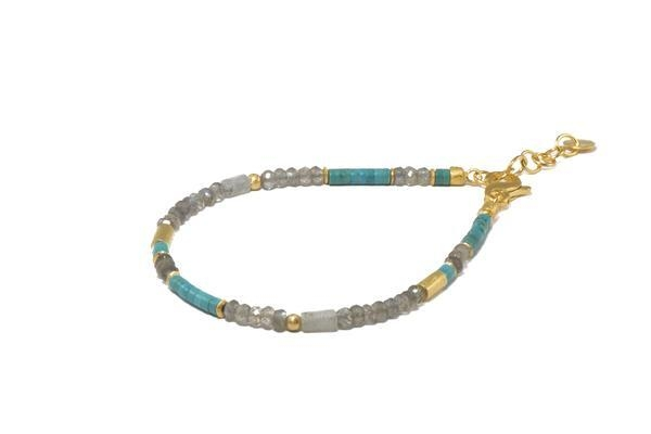 Closeup photo of 24k Gold Vermeil Turquoise & Labradorite Beaded Bracelet