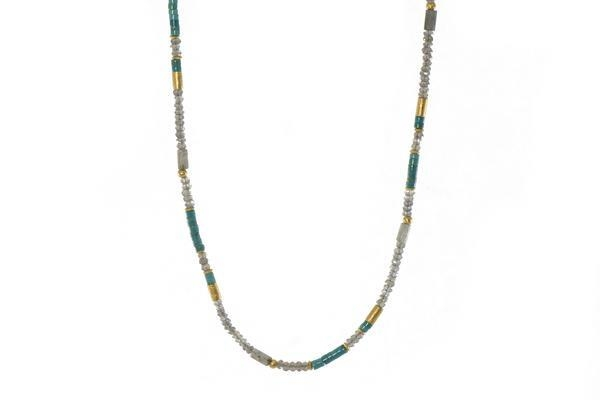 24k Gold Vermeil Labradorite & Turquoise Beaded Necklace
