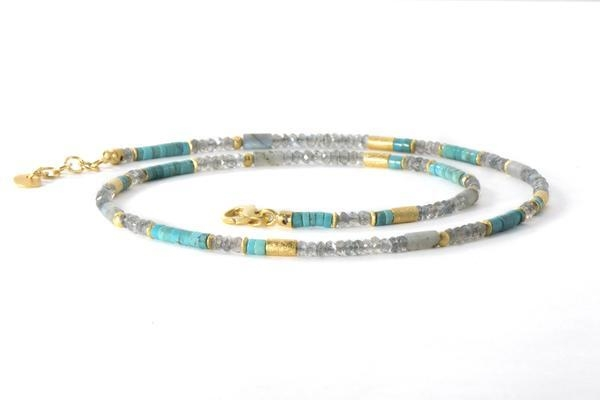 Image 2 for 24k Gold Vermeil Labradorite & Turquoise Beaded Necklace