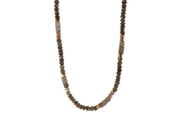 24k Gold Vermeil Smoky Quartz Beaded Necklace