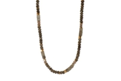 Closeup photo of 24k Gold Vermeil Smoky Quartz Beaded Necklace
