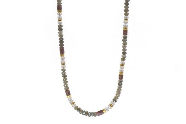 24k Gold Vermeil Labradorite, Rose Quartz & Rhodonite Beaded Necklace
