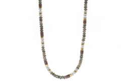 Closeup photo of 24k Gold Vermeil Labradorite, Rose Quartz & Rhodonite Beaded Necklace