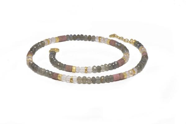 Image 2 for 24k Gold Vermeil Labradorite, Rose Quartz & Rhodonite Beaded Necklace