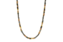 Closeup photo of 24k Gold Vermeil Labradorite, Moonstone, Smokey Quartz & Pearl Beaded Necklace