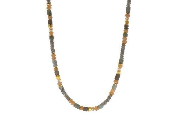 Closeup photo of 24k Gold Vermeil Labradorite, Moonstone, Smokey Quartz & Pearl Beaded Necklace