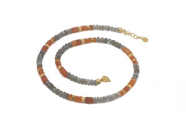 Image 2 for 24k Gold Vermeil Labradorite & Carnelian Necklace