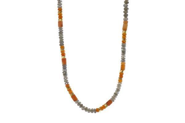 Closeup photo of 24k Gold Vermeil Labradorite & Carnelian Necklace