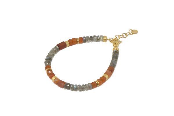 Closeup photo of 24k Gold Vermeil Beaded Labradorite & Carnelian Bracelet