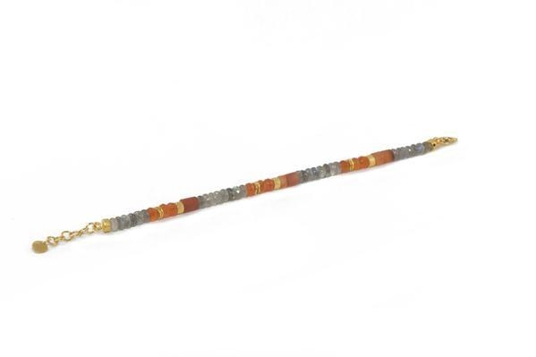 Image 2 for 24k Gold Vermeil Beaded Labradorite & Carnelian Bracelet