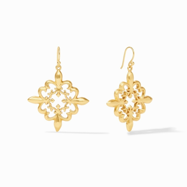 Closeup photo of Fleur-de-Lis Lace Earring