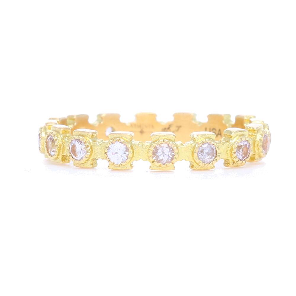 18k Yellow Gold Cross Stack Sapphire Ring