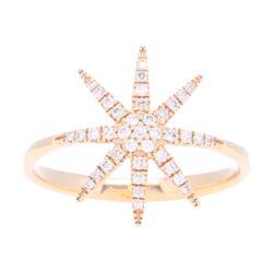 Closeup photo of 14k Diamond Star ring