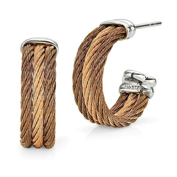 Image 2 for Petite Two Tone Cable Hoop Earrings