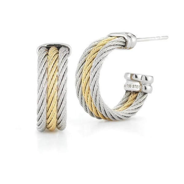 Closeup photo of Petite Two Tone Cable Hoop Earrings