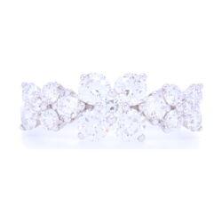 Closeup photo of 18k White Gold 3 Flower Pattern Diamond Ring