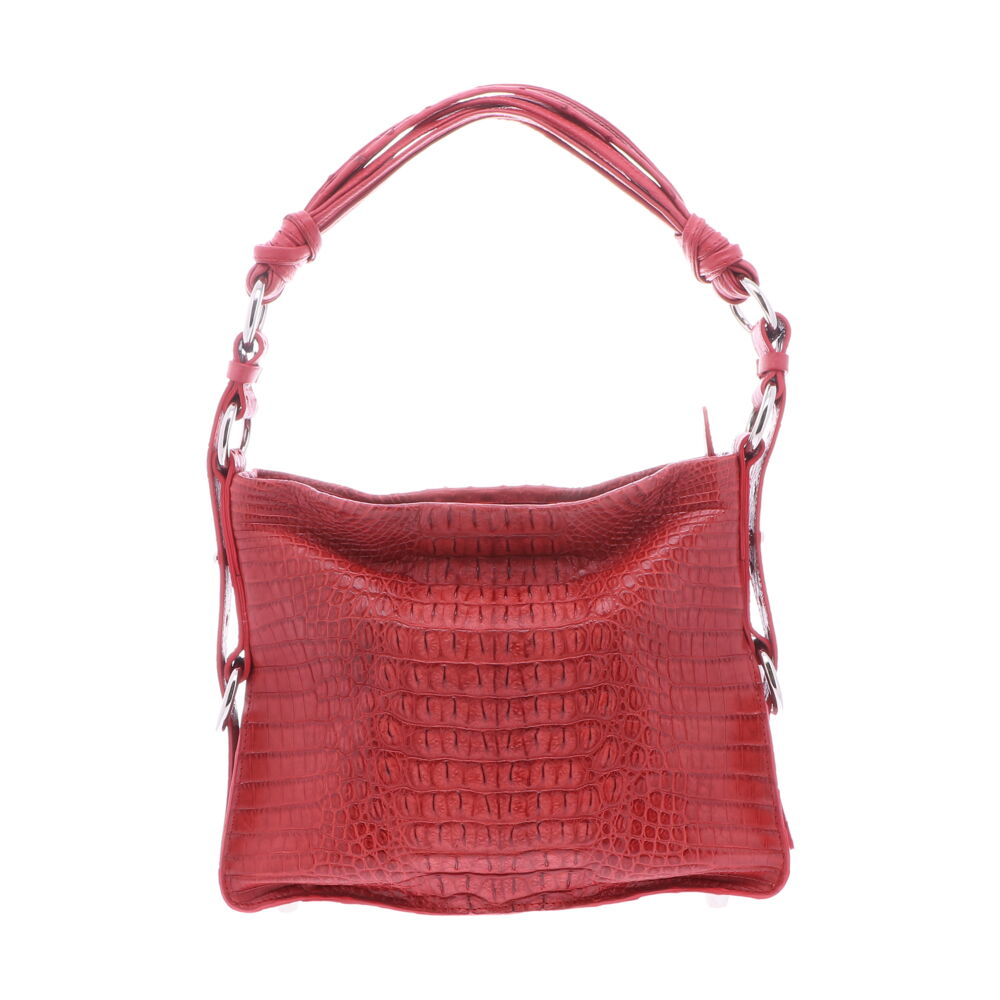 Red Nile Crocodile Hornback Shoulder Bag