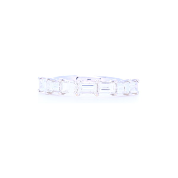 Closeup photo of 18k White Gold Side Set Baguette Diamond Stack Ring