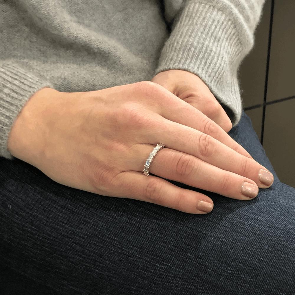 Image 2 for 18k White Gold Side Set Baguette Diamond Stack Ring