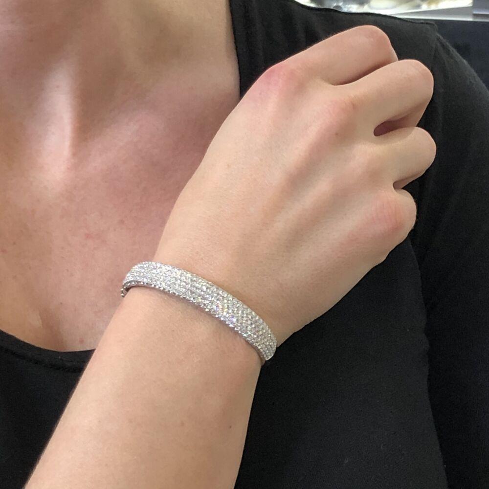 Image 2 for 18k White Gold Prong Set 3.53 tcw Diamond Bangle Bracelet